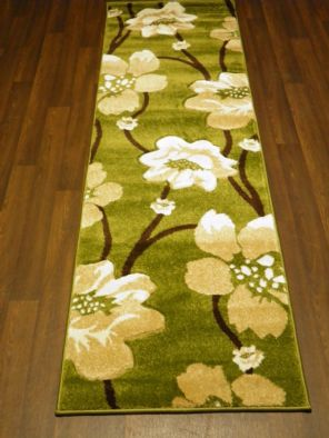 Modern Runner 60x220cm Aprox 8ft Hand Carved Super Quality poppy Green/Beige Rug